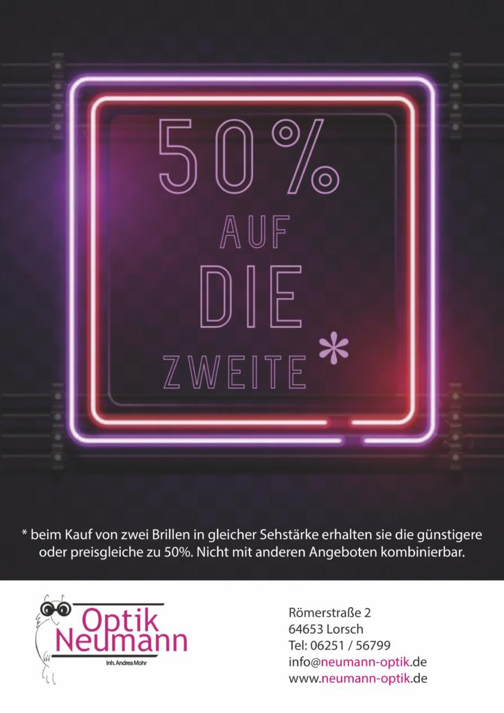 Werbung Angebot fünfzig prozent auf zweite brille